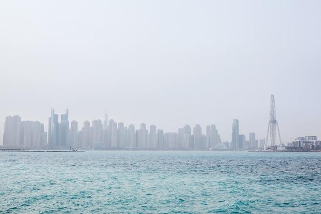 Stunning views of the skyscrapers in dubai at dawn. uae Premium Photo