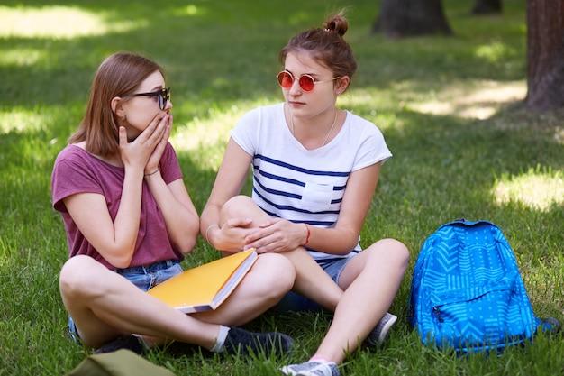 困惑したかわいい女性は親友と自由な時間を過ごし、突然のニュースに反応し、一緒に試験の準備をします Premium写真