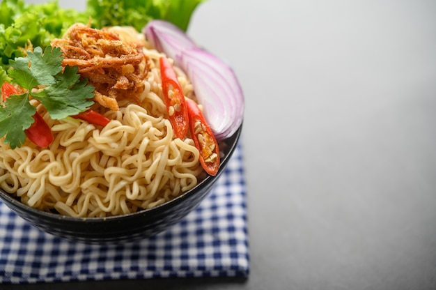 The style still life with noodles in the bowl. Free Photo
