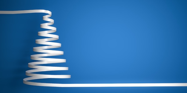 Styled white ribbon serpentine christmas tree on blue background with Premium Photo