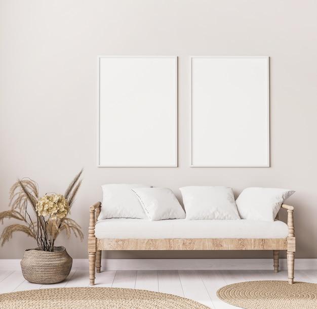 Стильный интерьер гостиной в стиле бохо с деревянным диваном Premium Фотографии