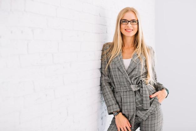 Stylish businesswoman with glasses Free Photo
