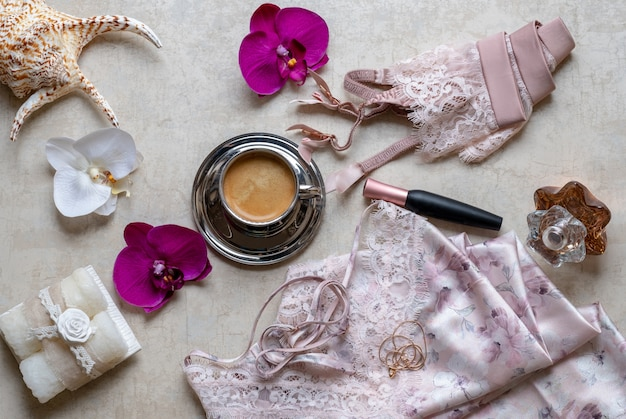Stylish fashion female accessories top view. lacy pink lingerie, underwear. Premium Photo