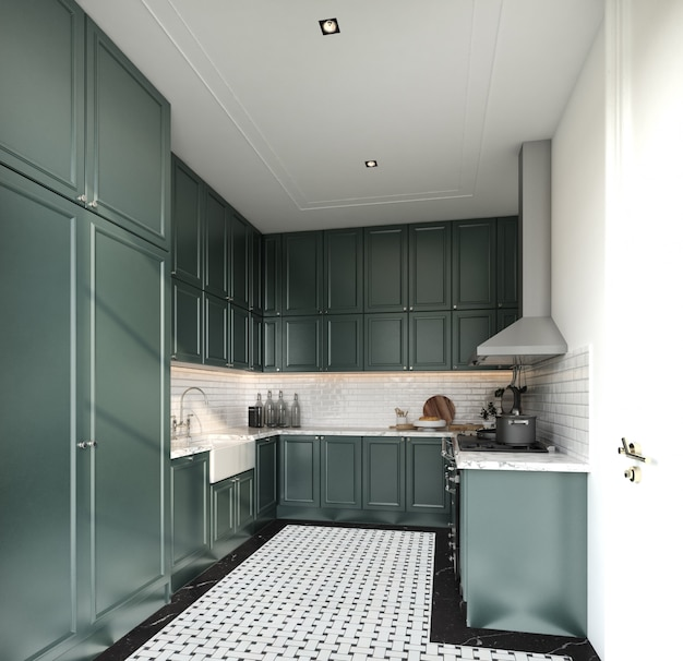 Premium Photo Stylish Fully Kitchen In Modern Classic Style Midnight Green Spray Painted Cabinet And White Brick Tiles Install On The Wall With Marble Floor Tile