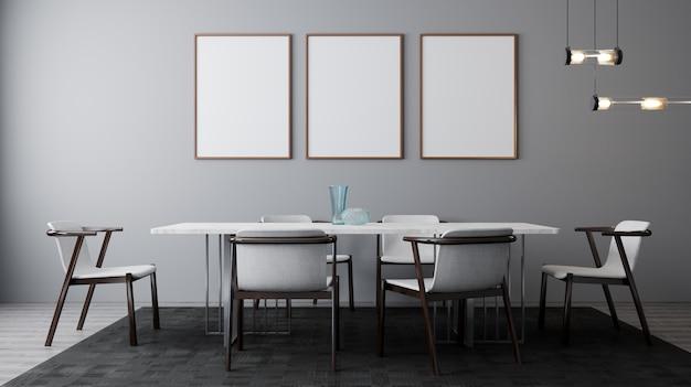 테이블과 의자가있는 밝은 식당의 세련된 인테리어. 포스터, 벽까지 조롱. 밝은 일광을 가진 현대적인 디자인 룸. 3d 렌더링 프리미엄 사진