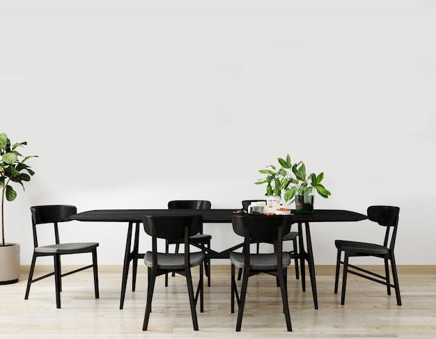 블랙 테이블과 의자 테이블, 장식 밝은 거실의 세련된 인테리어. 거실 인테리어 모형. 밝은 일광을 가진 현대적인 디자인 룸. 3d 렌더링 프리미엄 사진
