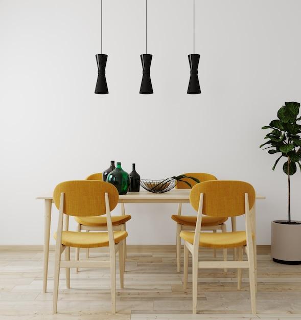 장식 테이블과 의자 테이블과 밝은 거실의 세련된 인테리어. 거실 인테리어 모형. 밝은 일광을 가진 현대적인 디자인 룸. 3d 렌더링 프리미엄 사진