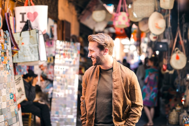 Stylish man in a market Premium Photo