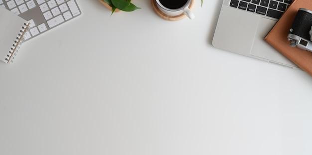 Stylish minimalistic workplace and copy space Premium Photo