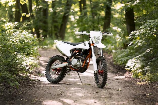 森に駐車したスタイリッシュなバイク 無料写真