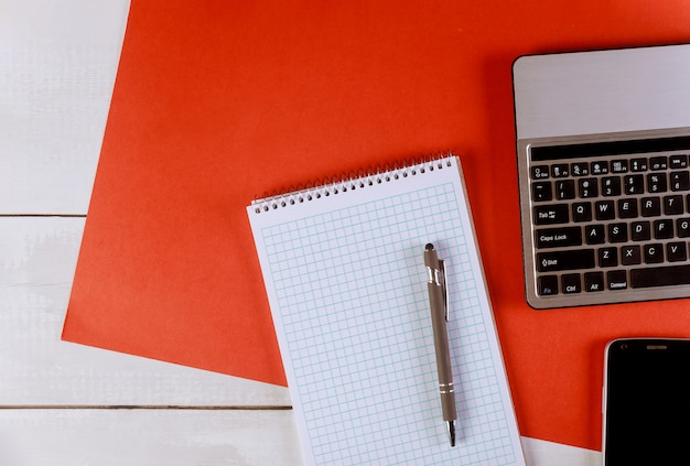 Stylish office table with supplies and devices Premium Photo