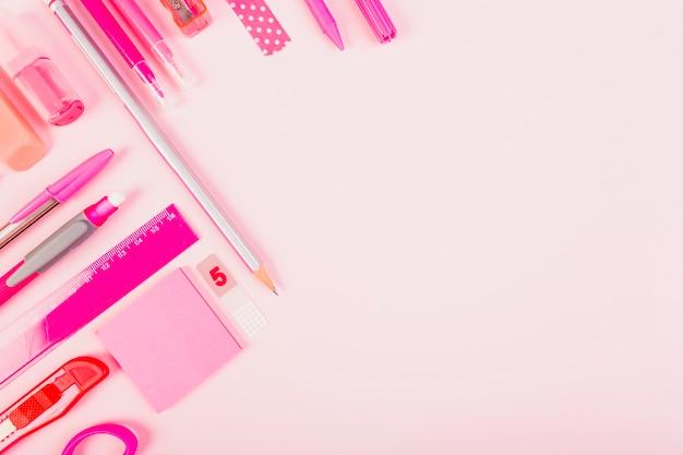 Stylish pink stationery Free Photo
