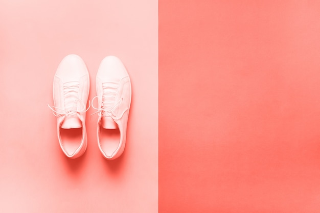 Stylish sneakers and rope with background copy space. top view. minimal flat lay. summer shoes collection. Premium Photo