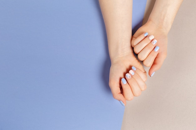 Stylish trendy female manicure. Premium Photo