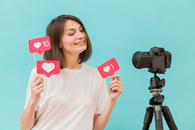 Stylish woman recording video at home Free Photo