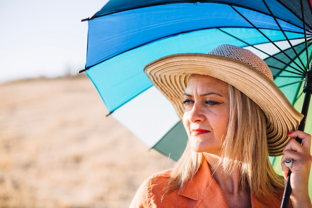 Stylish Woman With Umbrella On Nature Photo Free Download