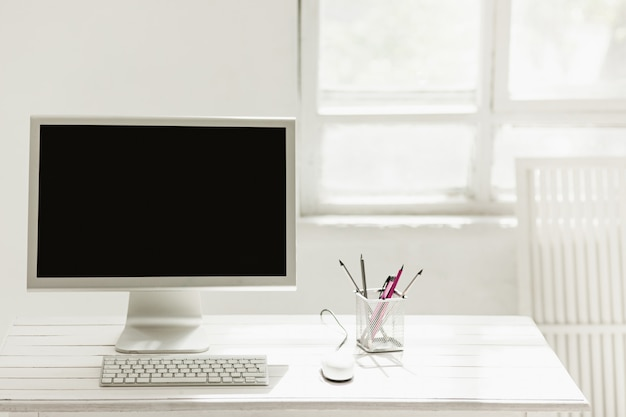 Stylish workspace with computer on home or studio Free Photo