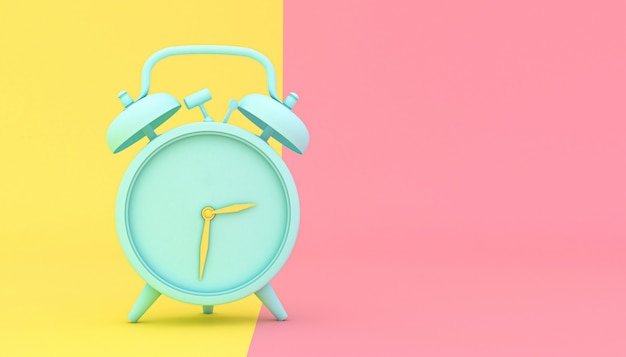 Stylized alarm clock on a yellow and pink background Premium Photo