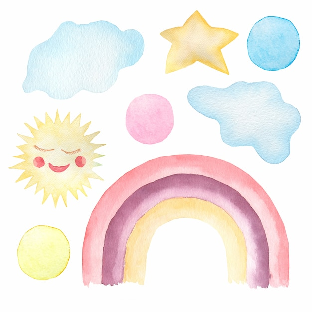 かわいい子供たちのイラスト-虹、su、雲、水玉の水彩セット。 Premium写真