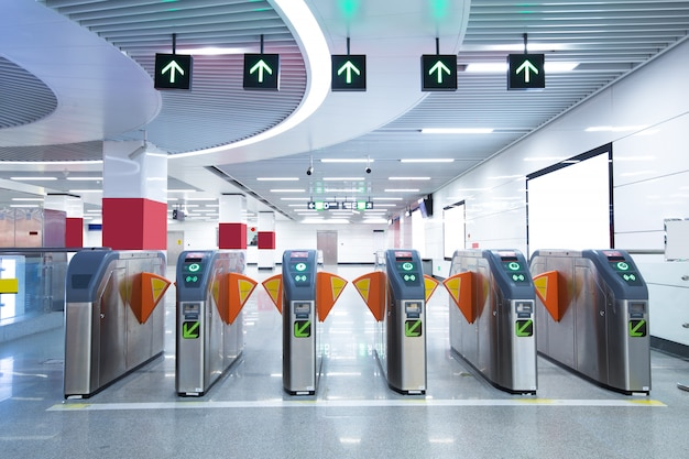 Subway station pedestrian access gates Premium Photo