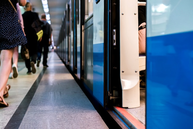 Subway train staying on a metro station with doors open Premium Photo