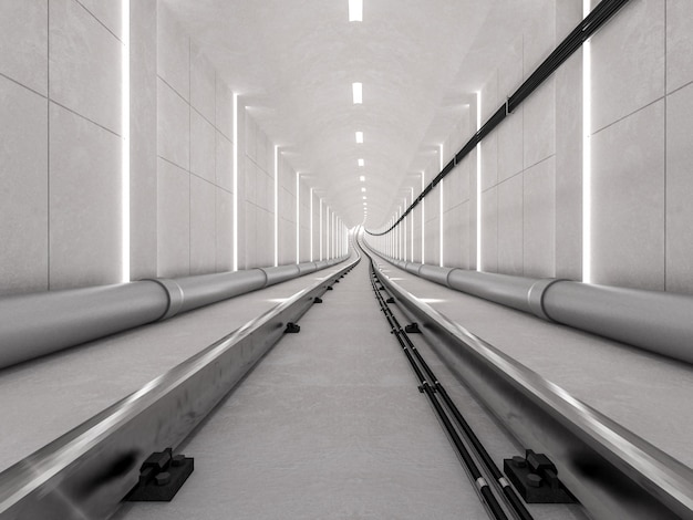Subway tunnel with light track and arriving concept, 3d render. Premium Photo