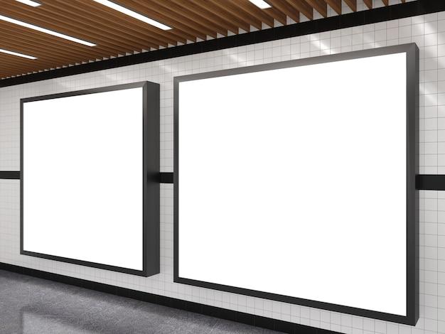 Subway with blank white advertising billboard frame Premium Photo