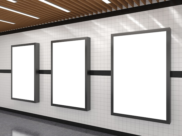 Subway with blank white advertising light box frame Premium Photo