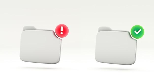 Уведомление об успехе и ошибке символ пустой папки Premium Фотографии
