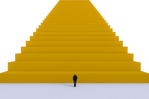 Success concept with businessman, image of miniature businessman standing Premium Photo