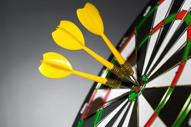 Success hitting target, aim achievement Premium Photo