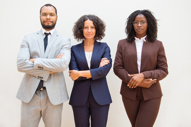 Successful diverse business team posing with arms folded Free Photo