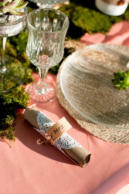Succulents in weddings interior decoration Premium Photo