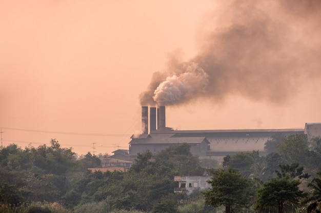 Sugar cane factory is burning with pollution smoke from chimneys Premium Photo