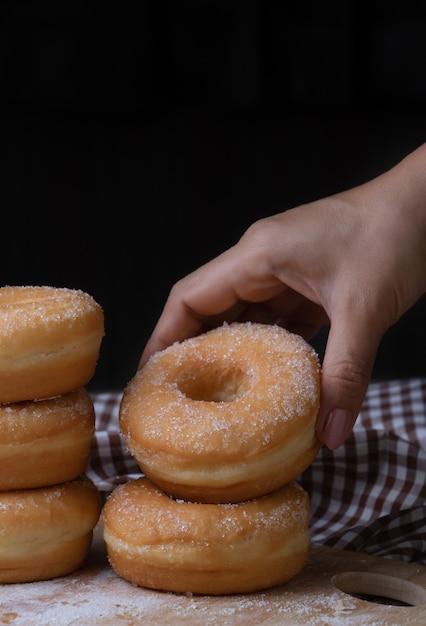 Sugar donuts Premium Photo