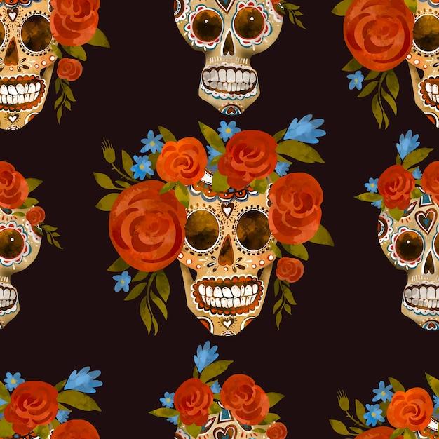 Sugar Skull Black 3615 White Business Card Case Day of the Dead business card holder Skull Card Case Card case