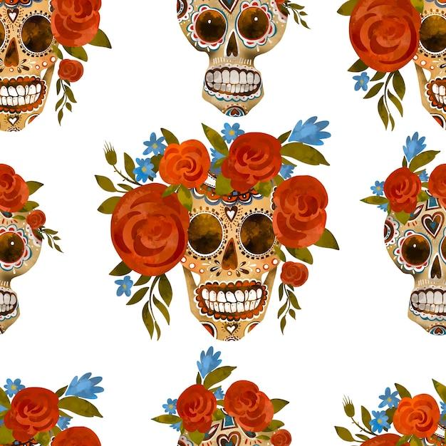 シュガースカルヴィンテージシームレスパターン。死者の日、白い背景のシンコデマヨテクスチャ。花の頭蓋骨 Premium写真
