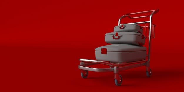 Чемодан на колесах, изолированные на красном Бесплатные Фотографии