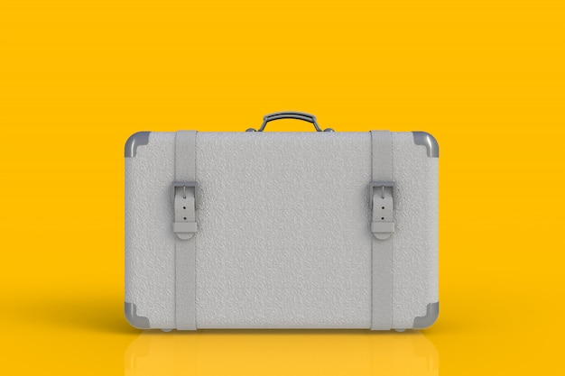 Suitcase of a traveler isolated on yellow background, 3d rendering Premium Photo