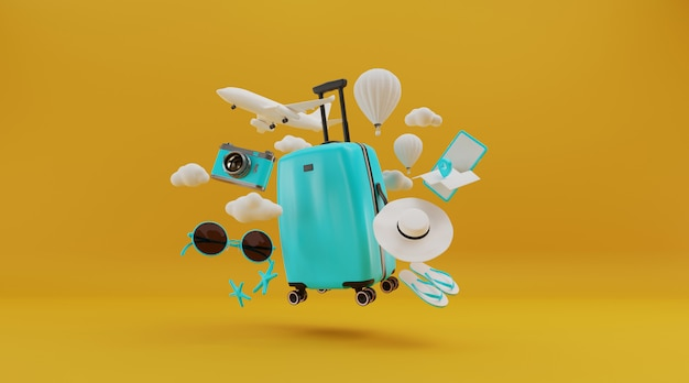Suitcase with had and other travel essentials, 3d rendering. Premium Photo