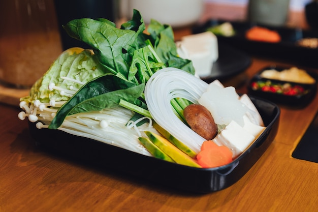 Sukiyaki vegetables set. Premium Photo