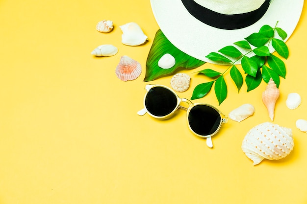 Summer accessories with seashell and leaf Free Photo