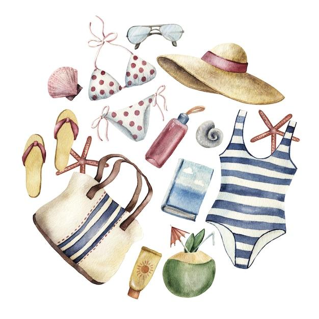 Summer apparel for beach vacation Premium Photo