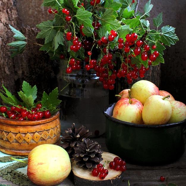 Summer apples mint currant Premium Photo
