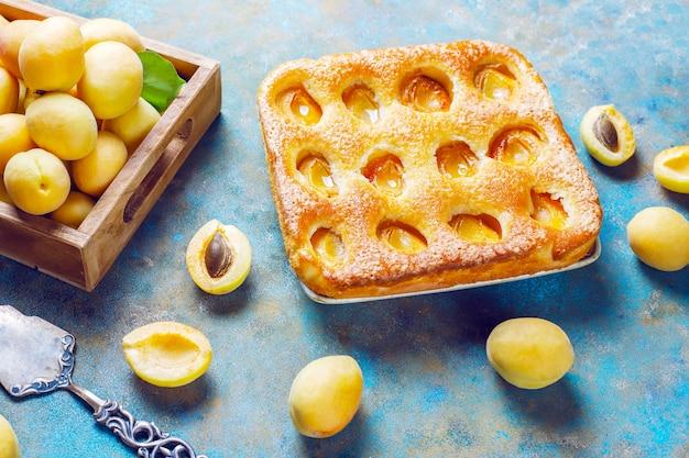 Torta di albicocche estiva deliziosa frutta dolce fatta in casa. crostata di albicocche. torta di frutta. Foto Gratuite