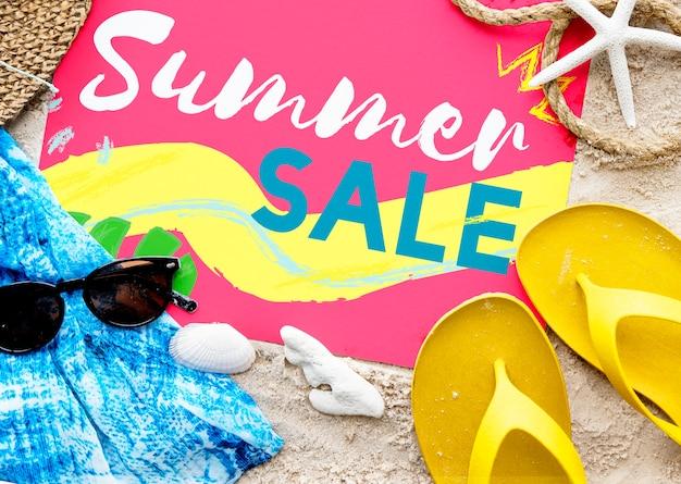 Summer beach sandals words sunglasses concept Free Photo
