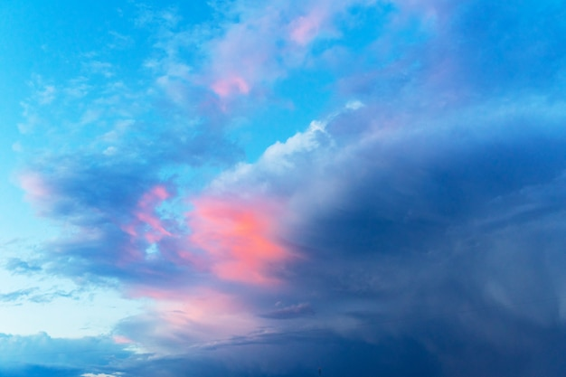 Summer blue sky with a thundercloud. large fluffy white clouds. Premium Photo