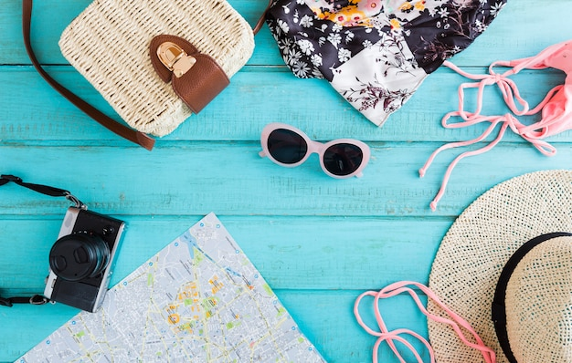 Summer composition of traveling things Free Photo