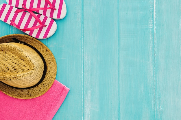 Summer concepton blue wooden background Free Photo