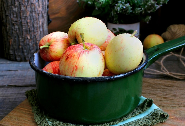 Summer garden apples mint Premium Photo
